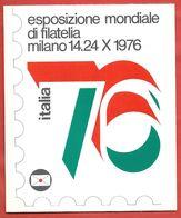 ITALIA REPUBBLICA LIBRETTO CARTONCINO - ESPOSIZIONE MONDIALE FILATELIA MILANO 1976 - VIGNETTE - ERINNOFILI - 6. 1946-.. República