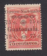 Guatemala, Scott #28e, Mint Hinged, Barrios Surcharged, Issued 1886 - Guatemala