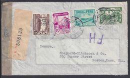 PEROU - 1944 - Affr. Quadricolore à 2.75 Soles Sur Enveloppe Recommandée De Lima Pour Boston Avec Contrôle De Censure - - Peru