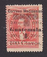 Guatemala, Scott #29c, Mint Hinged, Barrios Surcharged, Issued 1886 - Guatemala