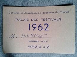 Carte Du Palais Des Festivals 1962 Conférences D Enseignement Supérieur De Cannes - Other Collections