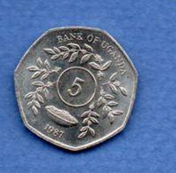 Ouganda  --  5 Shillings  1987  --  Km # 29  -  état  SPL - Ouganda