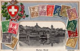 Murten - Morat - Boot - Port - Timbres - Poste - Bateau -  Briefmarken -  Hafen - FR Fribourg