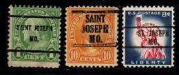 """USA Precancel Vorausentwertung Preo, Locals """"St JOSEPH"""" (MO). 3 Différents; - Stati Uniti"""