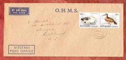Luftpost, MiF Voegel Im Zusammendruck, Post Office Aitutaki Nach Mangere Neuseeland 1981 (49435) - Aitutaki