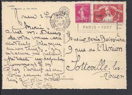 """FR - Affr. Timbres 278 B Et 329 Sur Carte Postale De Paris """" Panorama Sur La Seine"""" Vers Sotteville-les-Rouen - TB - Lettres & Documents"""
