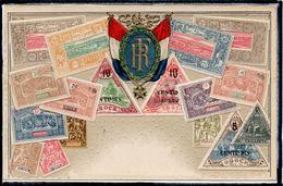 TIMBRES - REPRESENTATIONS - COTE FRANCAISE  DES SOMALIS - DRAPEAU - CPA GAUFFREE - Stamps (pictures)