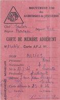 MOUVEMENT UNI DES AUBERGES DE JEUNESSE  CARTE DE MEMBRE ADHERENT  1946  TOULON VAR - Non Classés