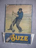 Rare - Ancien Carton -porte Courrier  - SUZE Apéritif à La GENTIANE Signée ROZ - Arracheur De Gentiane  - à Restaurer - Posters