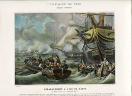 Napoleon French Army Attack Landing Troopers Fleet Sail Sailboat Malta Armée De France Antique Print 1893 Y. - Prints & Engravings
