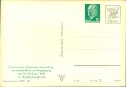"""1968, Privatganzsache Mit Wertstempel 10 Pfg. Ulbricht """"""""Gemeinsame Briefmarken-Ausstellung Der Bezirke Halle Und Magdeb - Unclassified"""