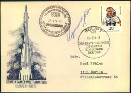 KOSMOS, 1978, Sigmund Jähn, Original Unterschrift Auf FDC Gemeinsacmer Raumflug UdSSR-DDr - Espace