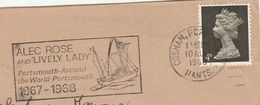 1968 Cosham GB COVER SLOGAN Illus SAILING YACHT 'LIVELY LADY' ALEC ROSE AROUND THE WORLD Portsmouth Sport Stamps - Sailing