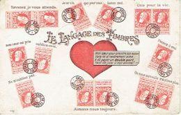 Carte Postale De 1906 - LE LANGAGE DES TIMBRES - Philathélie - Timbres (représentations)