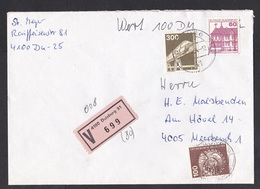Germany: Insured Value Cover, 1984, 3 Stamps, Monorail, V-label Duisburg (roughly Opened) - Brieven En Documenten
