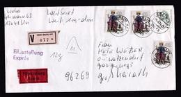 Germany: Insured Value Express Cover, 1994, 4 Stamps, Emperor Friedrich II, Middle Ages, V-label Berlin (fold) - Brieven En Documenten
