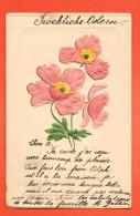 GBV-37  Fröhliche Ostern. Joyeuses Pâques. Fleurs Anémones En Relief, Gaufré, Geprägt.  Pionier. 1908 - Pâques