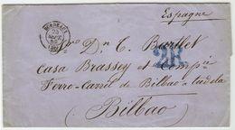 Carta Dirigida Al FERRO-CARRIL DE BILBAO A TUDELA - Sr.D. Thomas Bartlett En Bilbao--Casa Brassey - 1850-68 Royaume: Isabelle II
