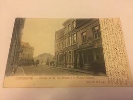 Carte Postale Grivegnée  Entrée De La Rue Haute à La Bonne Femme Tram Attelage - Belgique