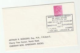 1971 GB MAGYAR PHILATELIC SOCIETY 100th ANNIV Philatelic EXHIBITION Event COVER Hungary GB Stamps - Esposizioni Filateliche