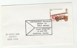 1974 GB CZECHOSLOVAKIA PHILATELIC SOCIETY Exhibition EVENT COVER GB Stamps Fire Engine Firemen Firefighting - Esposizioni Filateliche