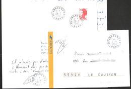 FRANCE '59 ABANCOURT'  1982/1993  3 MARQUES POSTALES Et OBLITERATIONS - Marcophilie (Lettres)