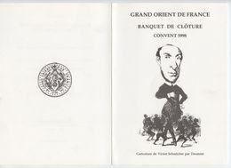 Franc-maçonnerie, Grand Orient De France Menu 5998, Convent De Paris, Daumier, Victor Schoelcher, - Menus