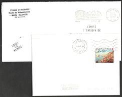 FRANCE '59 ANZIN PP'  1987/1992  2 MARQUES POSTALES Et OBLITERATIONS - Marcophilie (Lettres)