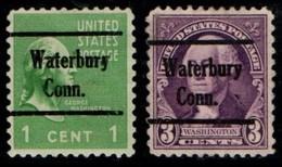 "USA Precancel Vorausentwertung Preo, Locals ""WATERBURY"" (CONN). 2 Différents. - Preobliterati"