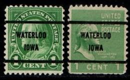 """USA Precancel Vorausentwertung Preo, Locals """"WATERLOO"""" (IOWA). 2 Différents. - Preobliterati"""