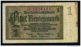 Germany 1 Rentenmark 1937 Rare 7 Digit P173a - Other
