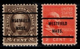 "USA Precancel Vorausentwertung Preo, Locals ""WESTFIELD"" (MASS). 2 Différents. - Preobliterati"