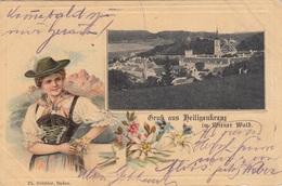 Gruss Aus HEILIGENKREUZ Im Wienerwald (NÖ) - Litho-Prägekarte, Sehr Seltene Schöne Karte Gel.1904? Nach Wien, ... - Heiligenkreuz