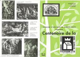 FOLDER  POSTE BELGE TP N°1322/26 CENTENAIRE CGER CACH POSTAL FDC DE BRUSSEL-BRUXELLES (3 SCANS) - Documenti Della Posta