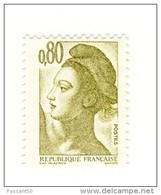 Liberté 0fr80 Olive YT 2241b Sans Phosphore , Papier LUMI . Rare, Voir Le Scan . Cote YT : 60 € , Maury N° 2246b : 55 € - Variétés Et Curiosités