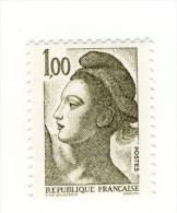 Liberté 1fr Olive  YT 2185 Avec GOMME MATE . Pas Courant , Voir Le Scan . Cote Maury N° 2190a : 5 € . - Varietà: 1980-89 Nuovi