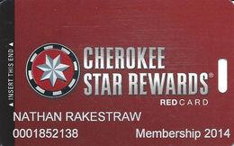 Cherokee Casinos Oklahoma - Slot Card - Copyright 2012 / P679502 Over Mag Stripe - Casino Cards