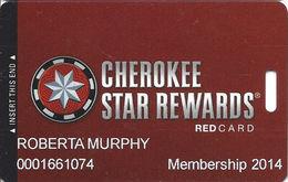 Cherokee Casinos Oklahoma - Slot Card - Copyright 2012 / P689244 Over Mag Stripe - Casino Cards