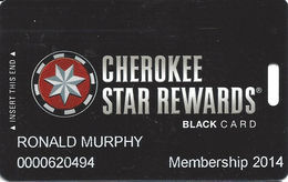 Cherokee Casinos Oklahoma - Slot Card - Copyright 2012 / P663330-1 Over Mag Stripe - Casino Cards