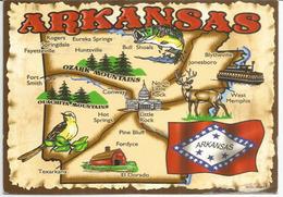 State Of Arkansas Map,  Postcard Addressed To ANDORRA, With Arrival Postmark,beautiful Postage - Etats-Unis
