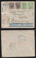 Paraguay 1930 Registered Airmail Cover AEROPOSTAL AIR FRANCE ACUNSION To BARCELONA Spain - Paraguay