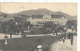 NICE .888. LE CASINO MUNICIPAL ET LE JARDIN PUBLIC . CARTE ANIMEE AFFR LE 27-2-1913 AU VERSO . 2 SCANES - Monuments, édifices