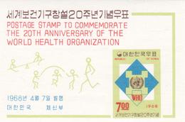 Korea Scott 598a 1968 WHO 20th Anniversary, Souvenir Sheet, Mint Never Hinged - Corée Du Sud