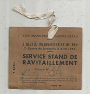 Badge Service Stand De Ravitaillement ,3 Heures De PAU ,1958 , Sports Automobile, - Unclassified