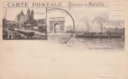 Marseille Env. 1900  Souvenir.  Avec Un Torpilleur - Marsella