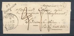 1843 Lettre Cursive 82/Dompaire + CAD T14 EPINAL VOSGES(82) Superbe. P3008 - Marcophilie (Lettres)