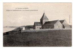 CPA   76   VARENGEVILLE-SUR-MER----L'EGLISE DE VARENGEVILLE ET LES FALAISES DE POURVILLE. - Varengeville Sur Mer