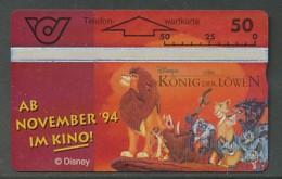 ÖSTERREICH  Telefonkarte - K 98 Walt Disney König Der Löwen  - Nr. 401A - Siehe Scan - - Oesterreich