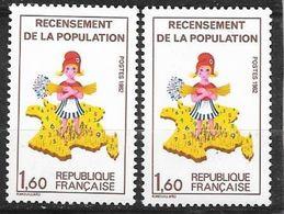 France  N° 2202 Et 2202a  Sans Le 7 Sur La Corse  Neufs *  * TB = MNH VF .soldes    ! ! ! - Varieties: 1980-89 Mint/hinged
