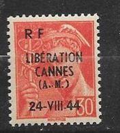 France  Libération De Cannes N° 2     Neuf *  * TB = MNH VF .soldes    ! ! ! - Liberazione